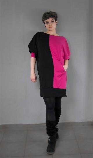 czarno różowa sukienka